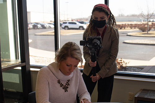 UNOH Graduate Becca Metras films a video for OhioMeansJobs